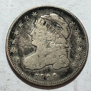1829 CAPPED BUST US SILVER DIME. VG FINE. Q2