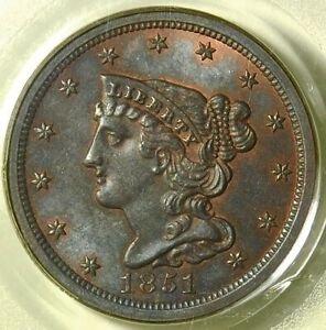 Click now to see the BUY IT NOW Price! PCGS MS64 BN 1851 BRAIDED HAIR HALF CENT