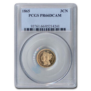 Click now to see the BUY IT NOW Price! 1865 THREE CENT NICKEL PR 66 DCAM PCGS   SKU209977