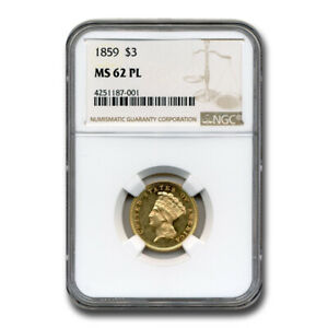 1859 $3 GOLD PRINCESS MS 62 NGC  PL    SKU211881