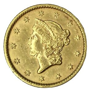 1854 $1 TYPE 1 GOLD LIBERTY DOLLAR AU UNCERTIFIED