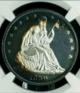 Click now to see the BUY IT NOW Price! 1859 50C NGC PF 66 STAR CAMEO SEATED LIBERTY HALF DOLLAR . 2ND FINEST GORGEOUS