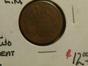 2 1864 TWO CENT PIECES ONE WITH ERROR ROTATED REVERSE180  SKU 19148