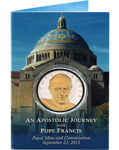 2015 OFFICIAL PAPAL VISIT 2OZ SILVER AND BRONZE MEDAL   SCULPTED BY DON EVERHART