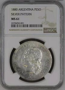 Click now to see the BUY IT NOW Price! 1880 ARGENTINA PESO SILVER PATTERN NGC MS61