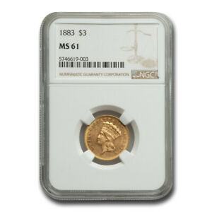 Click now to see the BUY IT NOW Price! 1883 $3 GOLD PRINCESS MS 61 NGC   SKU212453