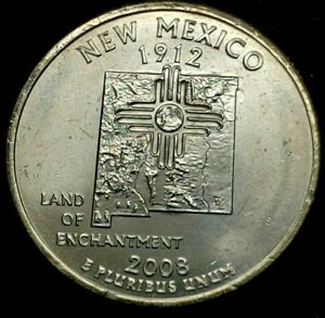 2008 P 25C STATE QUARTER NEW MEXICO BU CLAD 20UL0226 2 50 CENTS SHIPPING