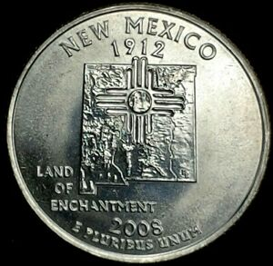 2008 D 25C STATE QUARTER NEW MEXICO BU CLAD 20UC0226 3 50 CENTS SHIPPING
