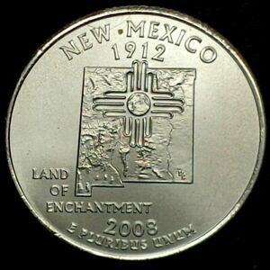 2008 P 25C STATE QUARTER NEW MEXICO BU CLAD 20UL0226 3 50 CENTS SHIPPING