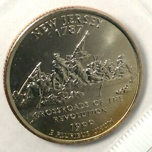 1999 P 25C STATE QUARTER NEW JERSEY BU CLAD M/S 18SH1006 50 CENTS SHIPPING