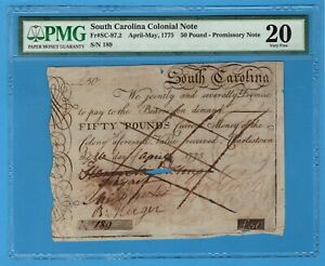 Click now to see the BUY IT NOW Price! SC 97.2 SOUTH CAROLINA COLONIAL NOTE 50 POUND 1775 PMG FINE 20