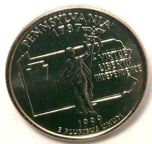 1999 P 25C STATE QUARTER PENNSYLVANIA BU CLAD M/S RR 50 CENTS FOR SHIPPING