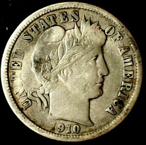 1910 D 10C BARBER DIME 90  SILVER 20UAL0517 50 CENTS SHIPPING
