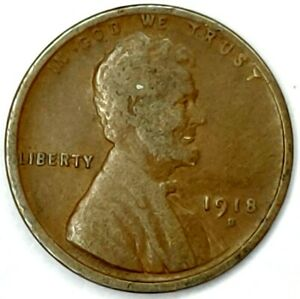 1918 D 1C LINCOLN WHEAT CENT 17RR0111 2 50 CENTS SHIPPING