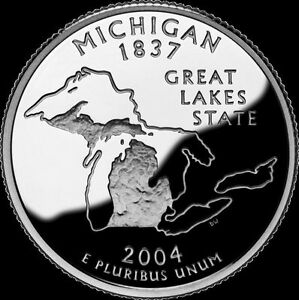 2004 S 25C STATE QUARTER MICHIGAN GDC PROOF CN CLAD 50 CENTS SHIPPING