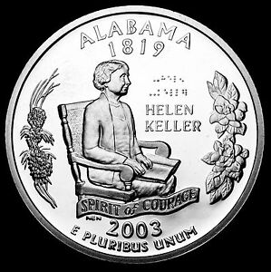 2003 S 25C STATE QUARTER ALABAMA GDC PROOF CN CLAD 50 CENTS SHIPPING