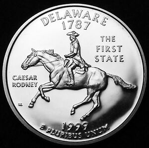 1999 S 25C STATE QUARTER DELAWARE GDC PROOF CN CLAD 50 CENTS SHIPPING