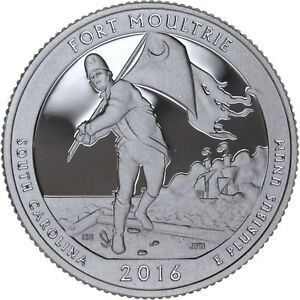 2016 S 25C ATB QUARTER FORT MOULTRIE GDC PROOF CN CLAD 50 CENTS SHIPPING