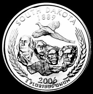 2006 S 25C STATE QUARTER SOUTH DAKOTA GDC PROOF CN CLAD 50 CENTS SHIPPING