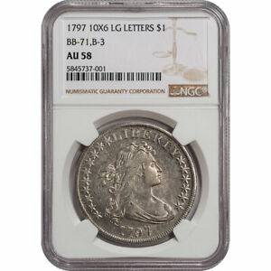 Click now to see the BUY IT NOW Price! 1797 DRAPED BUST DOLLAR $1 NGC AU58 10X6 LG LETTERS BB 71 B 3