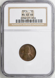 1914 LINCOLN WHEAT CENT   NGC MS63RB