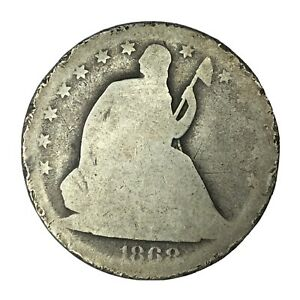 1868 S 50C SEATED LIBERTY HALF DOLLAR AG UNCERTIFIED