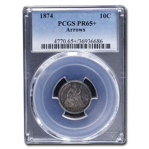 Click now to see the BUY IT NOW Price! 1874 LIBERTY SEATED DIME PR 65  PCGS  ARROWS    SKU213414