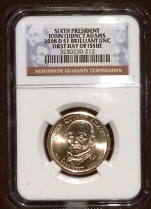 2008 D PRESIDENTIAL DOLLAR | NGC BRILLAINT UNC | JOHN QUINCY ADAMS  SV20010