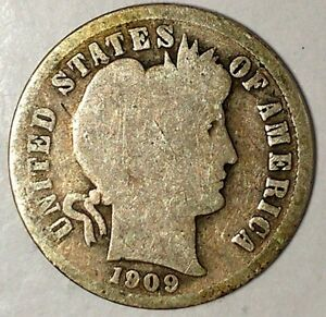 1909 P 10C BARBER DIME 90  SILVER 18OLL2705 50 CENTS SHIPPING