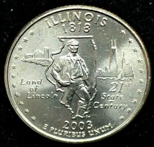 2003 P 25C STATE QUARTER ILLINOIS BU CLAD 20UA0228 1 50 CENTS SHIPPING
