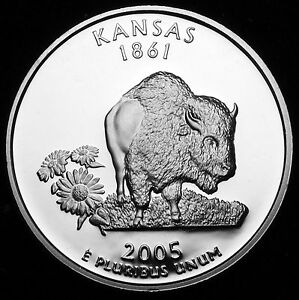 2005 S 25C STATE QUARTER KANSAS GDC PROOF 90  SILVER 50 CENTS SHIPPING