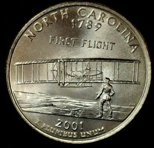 2001 D North Carolina State BU Washington Statehood Quarter in Mint Cello