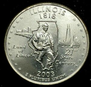 2003 D 25C STATE QUARTER ILLINOIS BU CLAD 20OW0228 1 50 CENTS SHIPPING