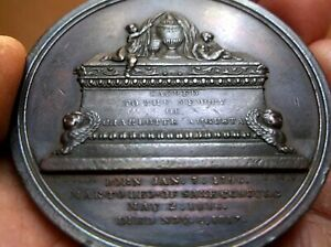 ANTIQUE BRONZE TOMB MOURNING MEDAL DEATH OF PRINCESS CHARLOTTE BY WEBB 1817