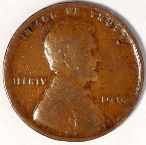1914 P 1C LINCOLN WHEAT CENT 17RR3010 1 50 CENTS SHIPPING