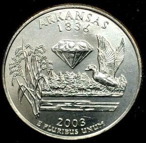 2003 D 25C STATE QUARTER ARKANSAS BU CLAD 20OW0228 2 50 CENTS SHIPPING