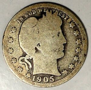 1905 P 25C BARBER QUARTER KEY DATE 90  SILVER 18WCT1305 50 CENTS SHIPPING
