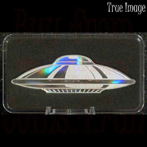2020   UFO SHAPED $2 PURE SILVER HOLOGRAM COIN   SOLOMON ISLANDS   BY PAMP