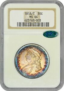 Click now to see the BUY IT NOW Price! TONED 1818/7 50C LARGE 8 MS64 NGC CAC BUST HALF DOLLAR COLOR EX $19 388 08/16 HA