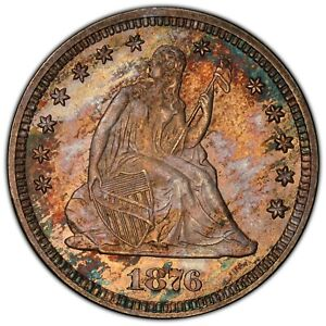 1876 SEATED QUARTER PCGS MS 65 CAC GREAT TYPE COIN