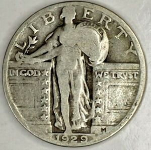 1929 P 25C STANDING LIBERTY QUARTER 90  SILVER 19SOC1124 50 CENTS SHIPPING
