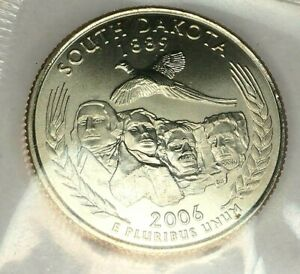 2006 P 25C STATE QUARTER SOUTH DAKOTA BU CN CLAD M/S 19CT0731 50 CENTS SHIPPING