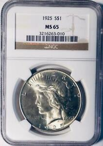 1925 PEACE SILVER DOLLAR   NGC MS 65    MINT STATE 65   CERTIFIED PEACE DOLLAR