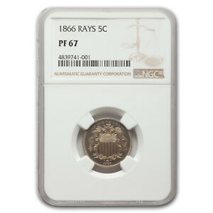 Click now to see the BUY IT NOW Price! 1866 SHIELD NICKEL PF 67 NGC  RAYS    SKU209151