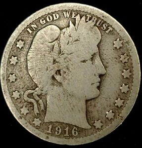 1916 D 25C BARBER QUARTER 90  SILVER 20UHU0615 50 CENTS SHIPPING
