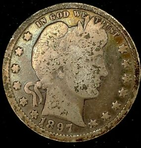 1897 P 25C BARBER QUARTER 90  SILVER 19UUH0928 50 CENTS SHIPPING