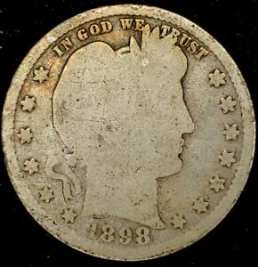 1898 P 25C BARBER QUARTER 90  SILVER 20STC0317 50 CENTS SHIPPING