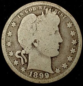 1899 P 25C BARBER QUARTER 90  SILVER 20UUH0928 50 CENTS SHIPPING