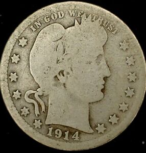 1914 P 25C BARBER QUARTER 90  SILVER 20UCO0615 50 CENTS SHIPPING