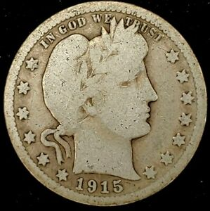 1915 P 25C BARBER QUARTER 90  SILVER 20UCL0615 50 CENTS SHIPPING